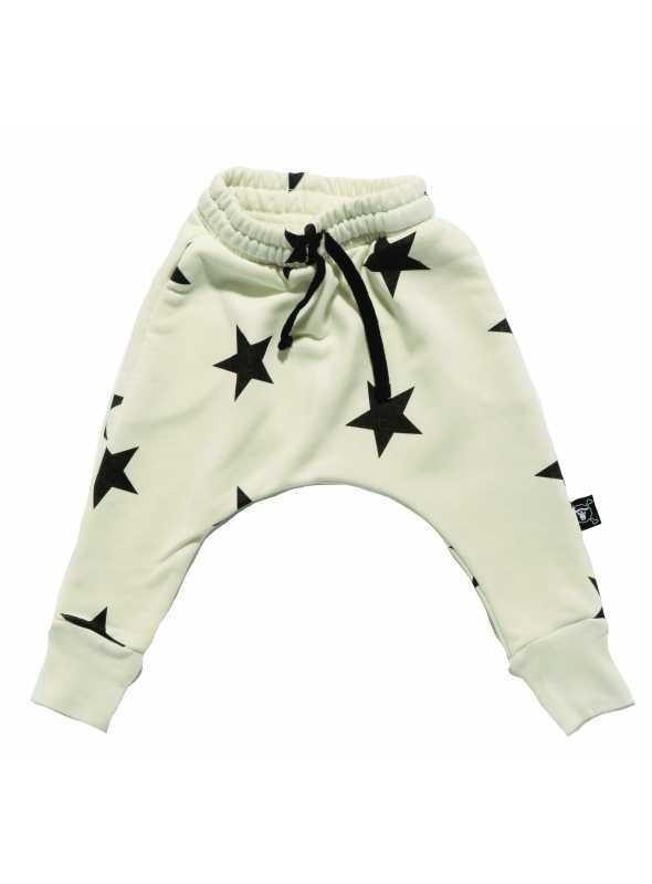 Detské pudlové nohavice – hviezdičky, biele