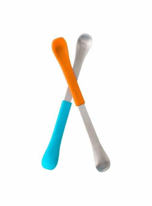SWAP - 2 v 1 lyžička na kŕmenie oranžová + aqua