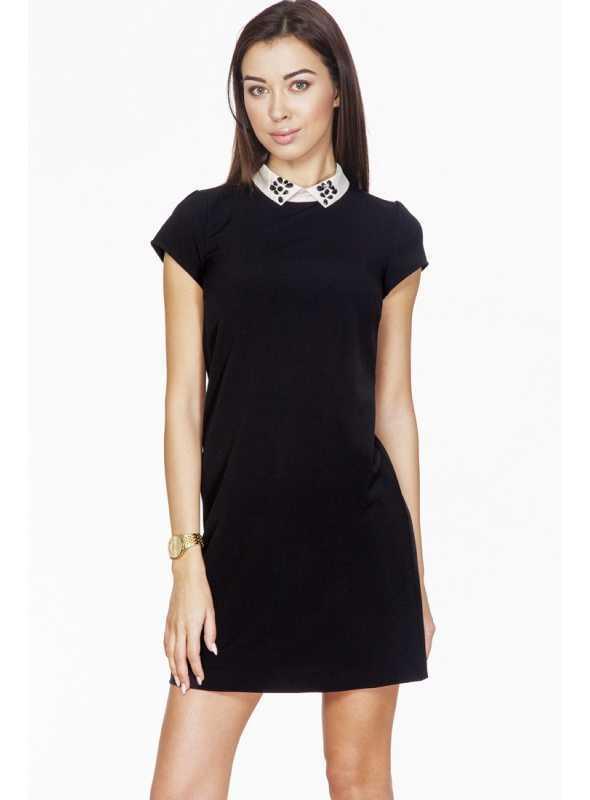 Čierne šaty s golierikom z kryštálikov a krátkym rukávom