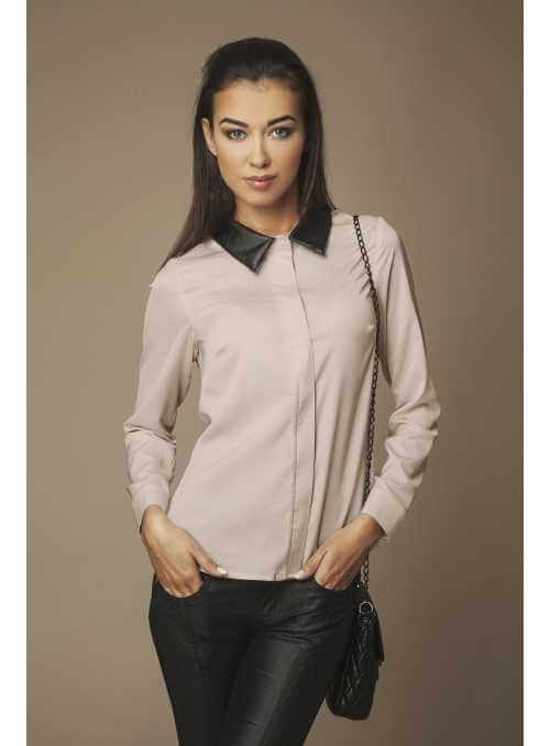 Capuccino blouse with leather collar