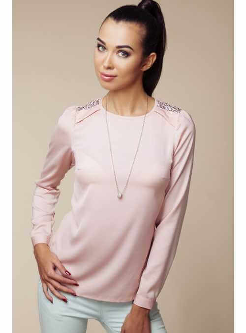 Pink blouse with strass on shoulders