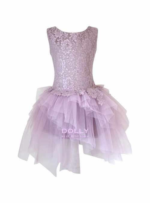 Exkluzívne Arabesque šaty s čipkou a tylom, mauve