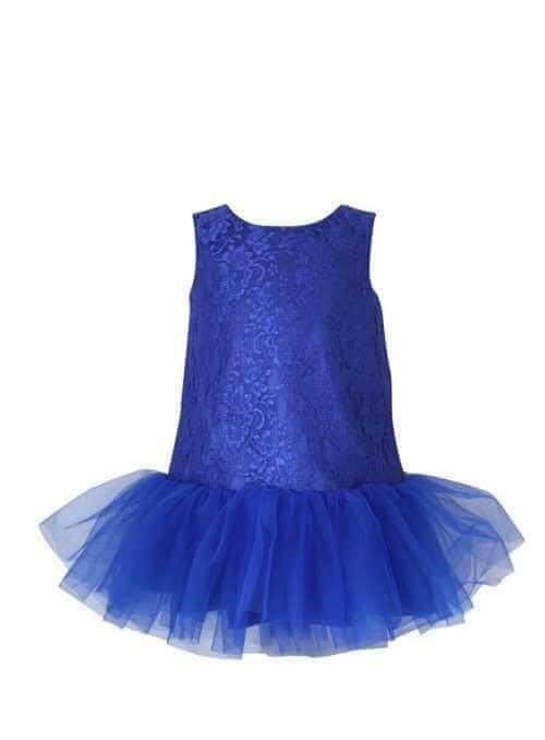 Exkluzívne Balancé šaty s čipkou a jemným šifónom, kráľovská modrá