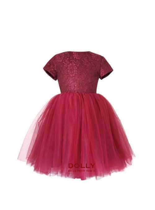 Exkluzívne Minuet čipkové šaty s krátkym rukávom, burgundy červená