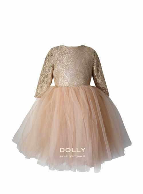Exkluzívne Waltz čipkové šaty s dlhým rukávom, zlaté