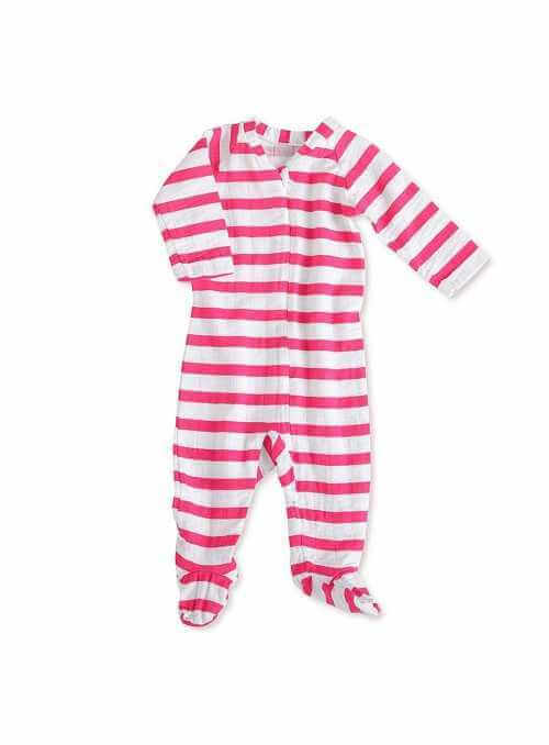 Long-sleeved babygrow with zip – Pink stripes Aden&Anais