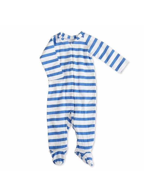 Long-sleeved babygrow with zip – Marine stripes Aden&Anais