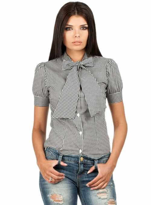 Elegant womens blouse with short sleeves and bow-knot -black