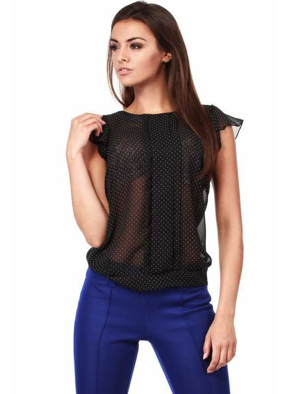 Elegant dotted  blouse with short sleeves-black