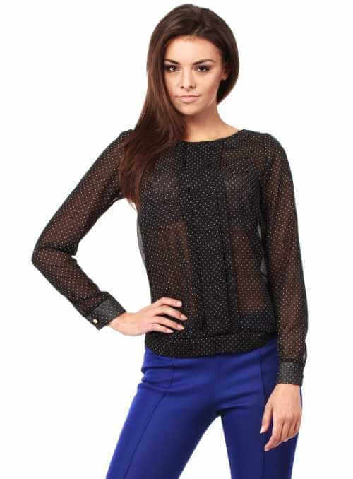 Elegant dotted  blouse with long sleeves-black