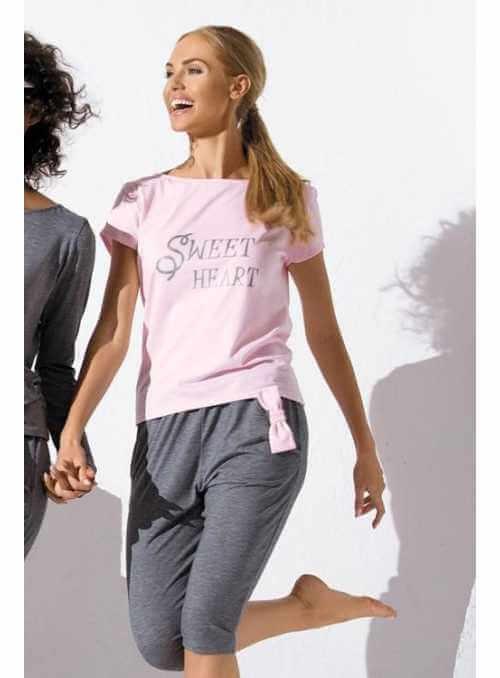 SWEET HEART dámske pyžamko – set top + ¾ nohavice