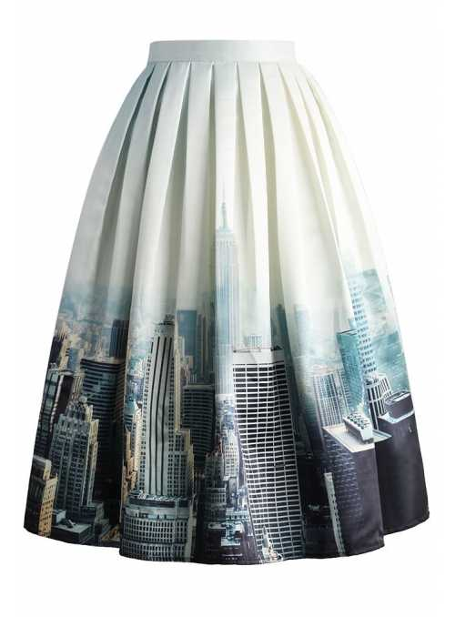 "Midi skirt ""The New York scene"""