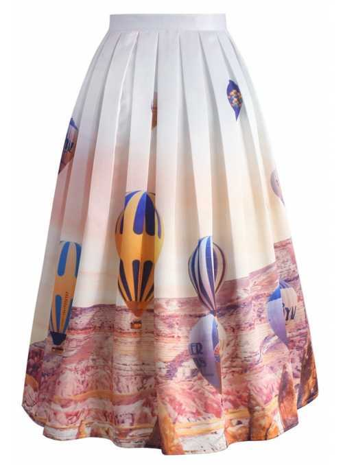 "Midi Skirt ""Balloons in the Clouds"""