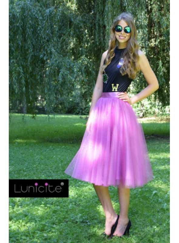Lunicite ŽIARIVÝ TULIPÁN LILA – exkluzívna tylová sukňa žiarivá lila