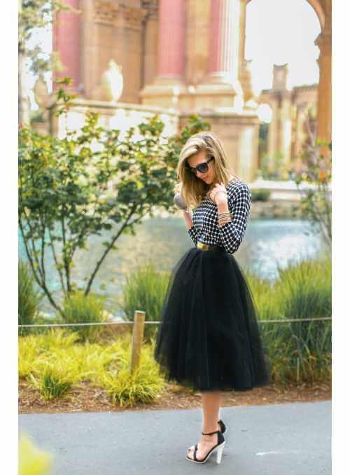 Lunicite ČIERNY TULIPÁN – exkluzívna tylová sukňa čierna