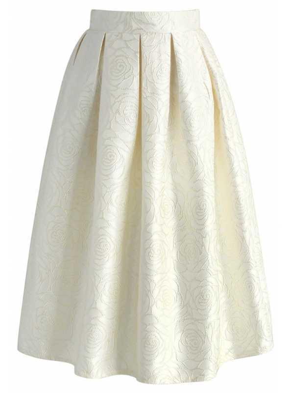 Midi sukňa z jaquardu s kvetmi ruží – šampanská