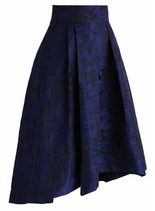 Midi sukňa s kvietkovým reliéfom, modrá