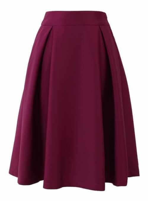 Elegantná midi sukňa, burgundy
