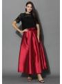 Skladaná maxi sukňa, červená