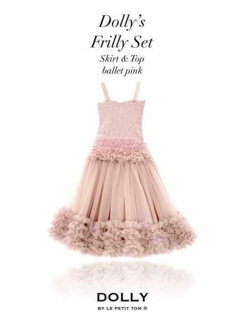 Dolly set – nariasený baletný top a suknička, baletná ružová