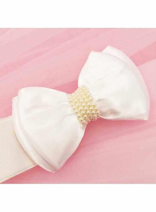 Rozkošný opasok s veľkou mašľou – biely + perličky