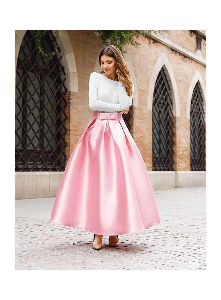 9cfe365060d0 MAXI ružová sladká sukňa s mašľou - Dadoo