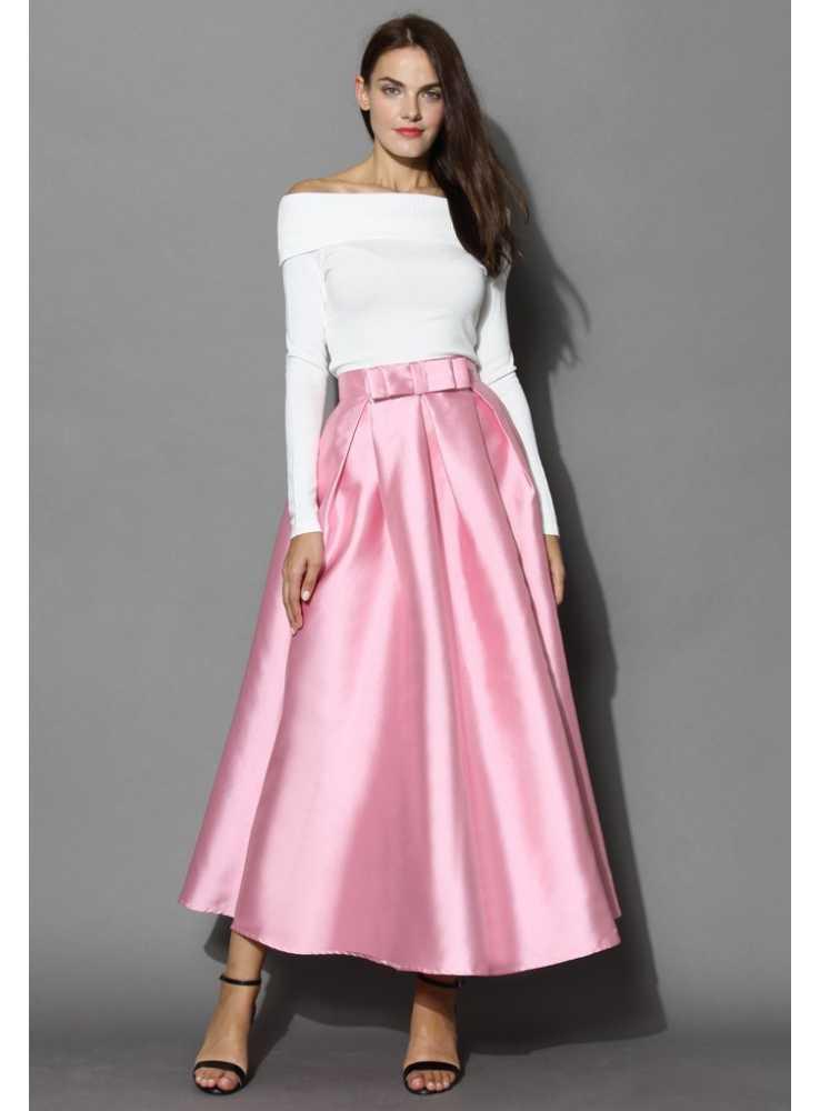05057f57f633 MAXI ružová sladká sukňa s mašľou - Dadoo
