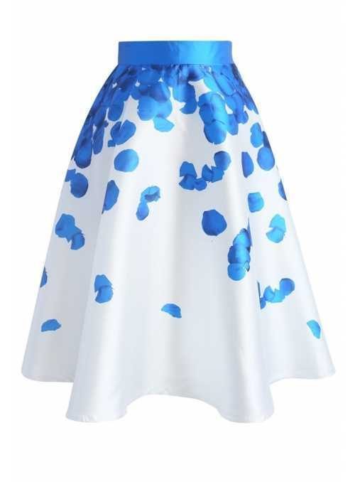 "MIDI SKIRT ""Rose petals"", blue"