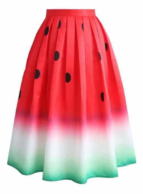 """Midi sukňa """"Šťavnatý melón"""""""