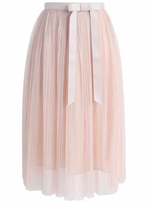 Padavá plisovaná sukňa s mašľou, pudrová