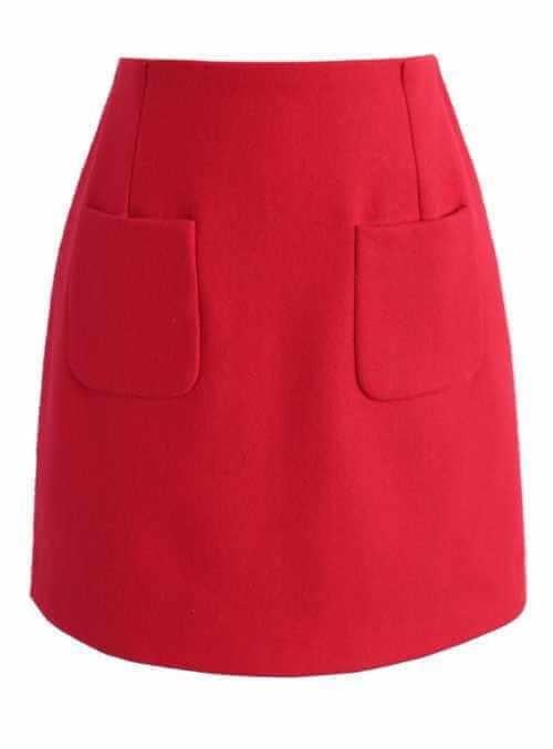 Vlnená červená sukňa