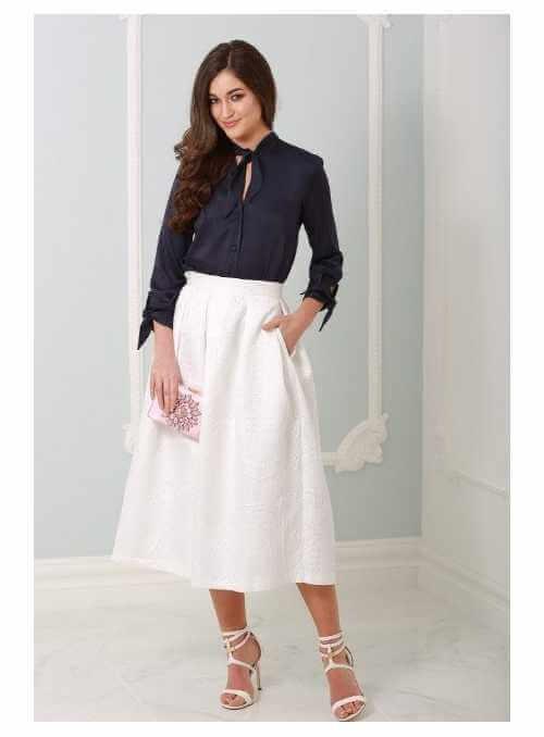 Biela jaquard midi sukňa