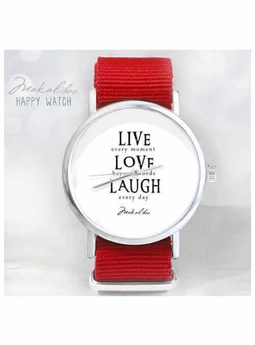 """Hodinky """"LIVE LAUGH"""" – veselé dámske hodinky  s motivačným textom"""