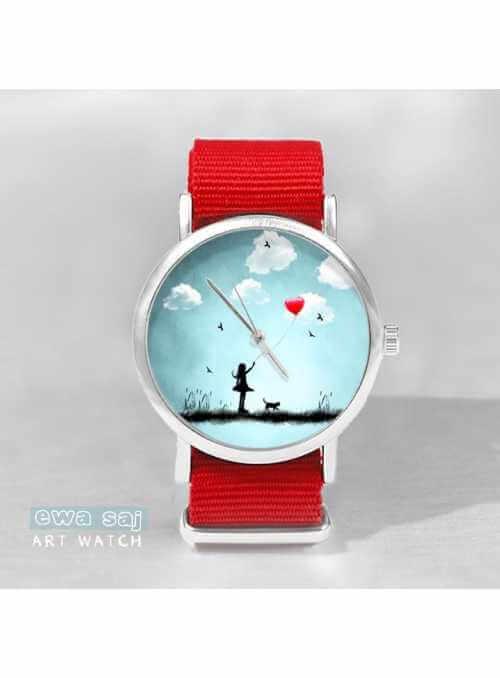 """Hodinky """"AMAZING WALK RED"""" – dámske hodinky dievčatko s balónom"""