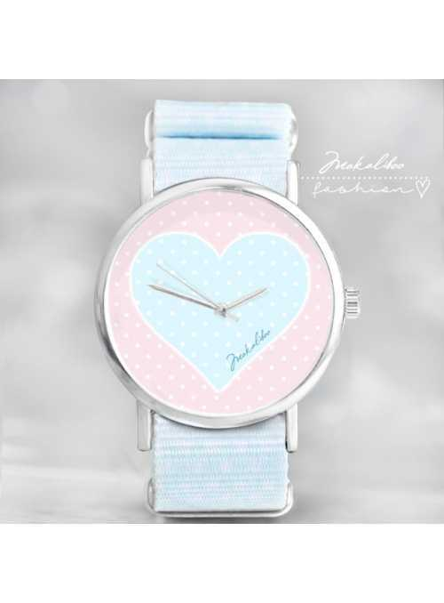 "Watch ""LOVE HEART DOTS"" - Ladies watch pastel colors"