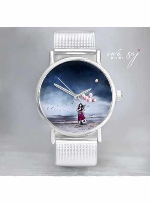 "Hodinky ""LITTLE BALLOON GIRL"" – dámske hodinky s miniatúrou fotografie dievčaťa s balónom"