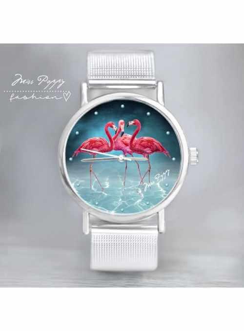 """Hodinky """"BLUE LAGOON"""" – dámske hodinky – plameniaky v modrej lagúne"""