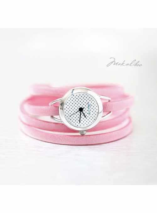"Hodinky ""MINI DOTS PINK"" – dámske hodinky s ružovým remienkom"