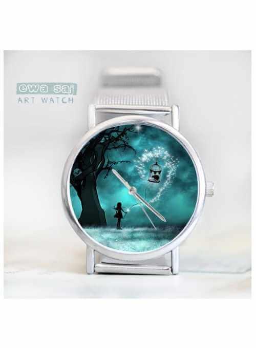 """Hodinky """"MAGICAL NATURE"""" – dámske hodinky s obrázkom dievčaťa v čarovnom lese"""