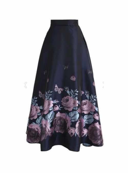 "Maxi Skirt ""Midnight Peony"""