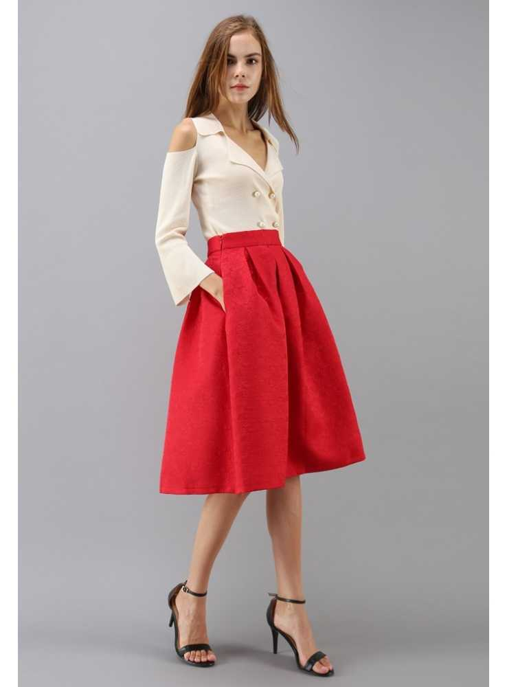 ee471480b60a Červená jaquard sukňa  Červená jaquard sukňa ...