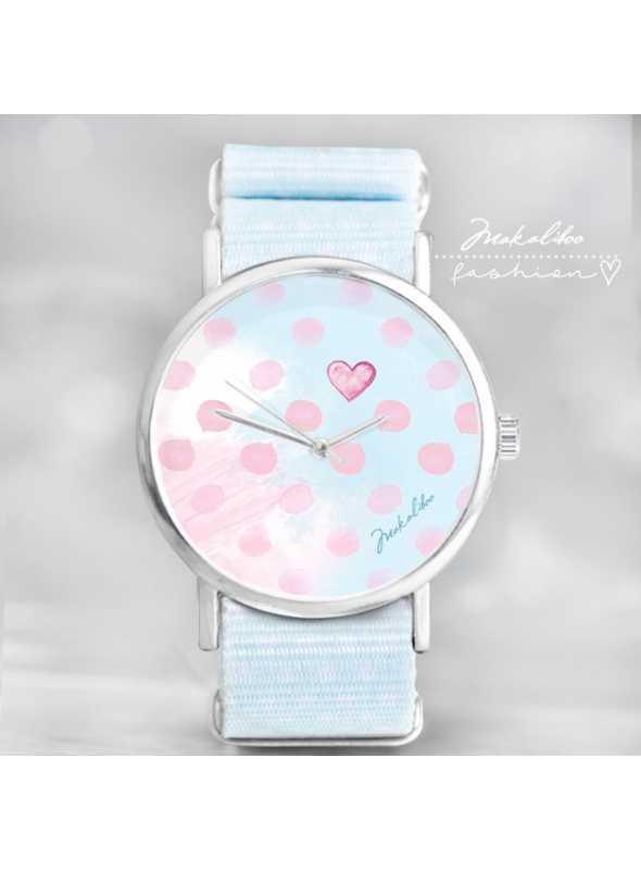 """Hodinky """"ART DOTS"""" – veselé dámske hodinky  s detailom srdca"""
