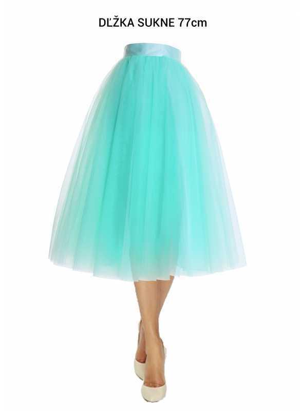 Lunicite MENTOLOVÝ TULIPÁN – exkluzívna tylová sukňa mentolová, 77cm