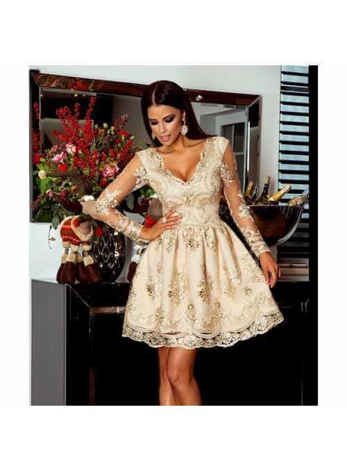 Mini šaty Amelia s dlhým rukávom , zlato béžové
