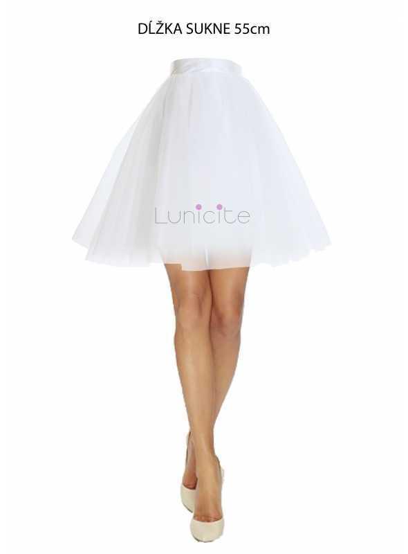 Lunicite BIELY TULIPÁN – exkluzívna tylová sukňa krémovo biela , dĺžka 55cm