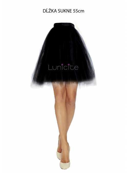 Lunicite BLACK TULIP - exclusive black tulle skirt, length 55 cm