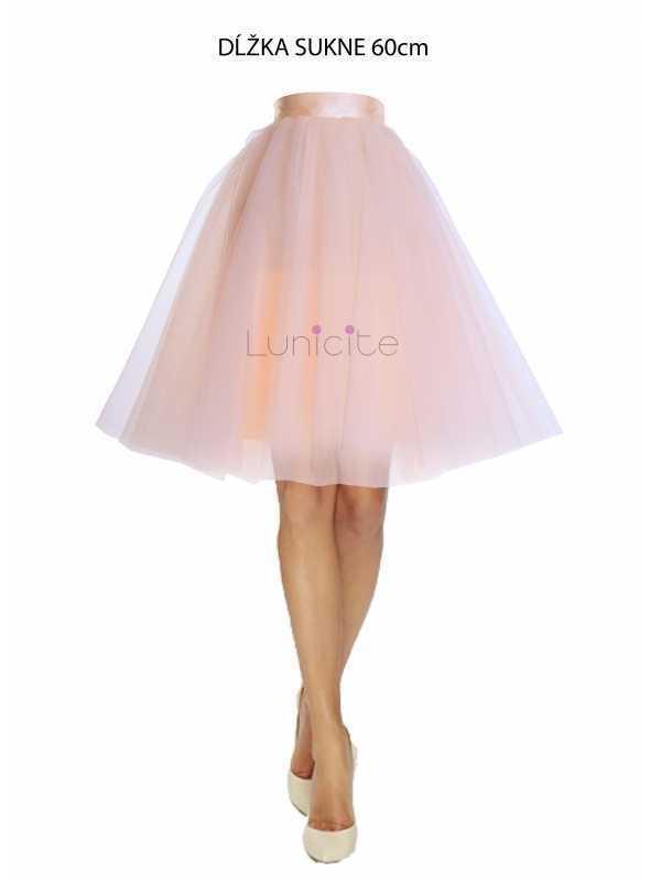 Lunicite BROSKYŇOVÝ TULIPÁN – exkluzívna tylová sukňa broskyňová, 60cm