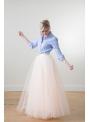 Lunicite BROSKYŇOVÝ TULIPÁN – exkluzívna tylová sukňa broskyňová, 107cm