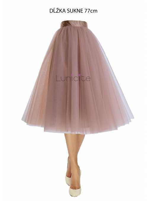 Lunicite CAPPUCCINO TULIPÁN – exkluzivní tylová sukně cappuccino, 77cm