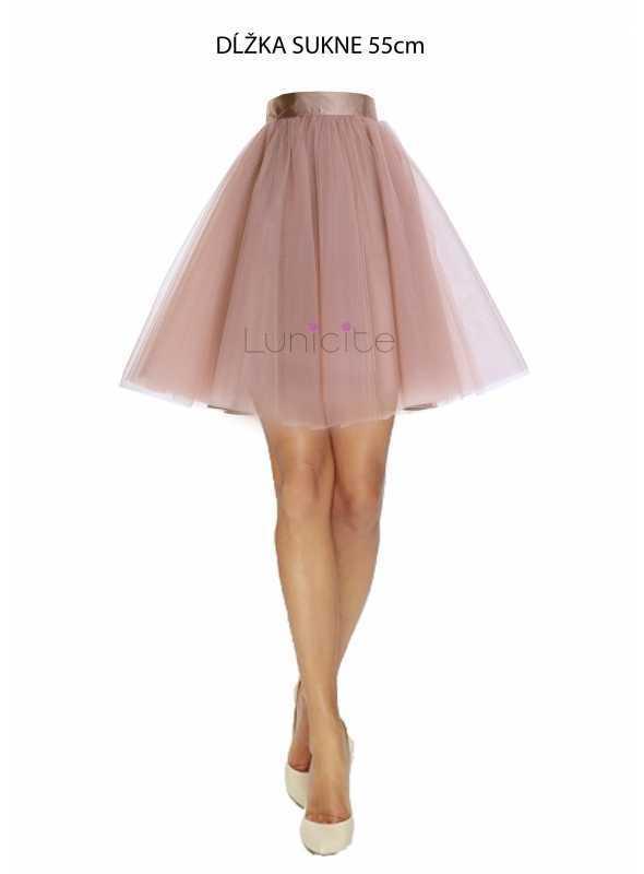 Lunicite CAPPUCCINO TULIPÁN – exkluzívna tylová sukňa cappuccino, 55cm